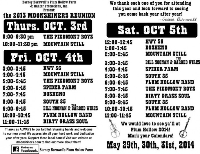 2013 Moonshiners Reunion band schedule