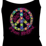 Plum Hollow Peace Design - Black Spaghetti Strap Tank